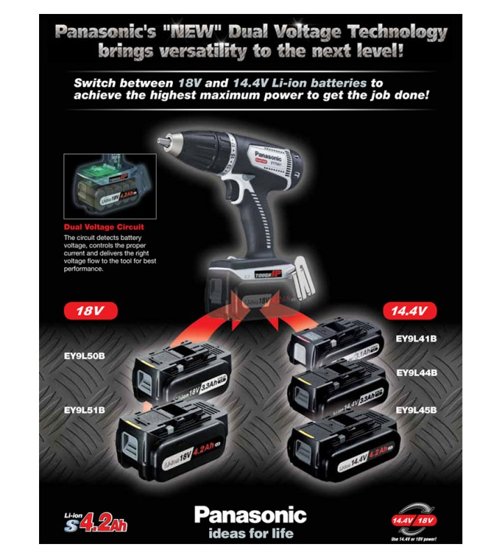Panasonic выпустила двухвольтажные инструменты