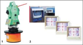 Рис. 9. Лазер для определения траектории движения микрощита (1) и лазерная мишень (2)