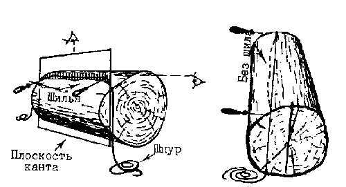 Разметка плоскости канта на бревне