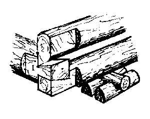 Причерчивание лапы при строительстве сруба
