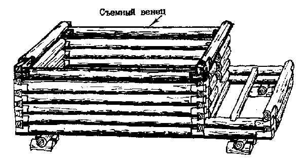 Съёмный последний подоконный венец сруба