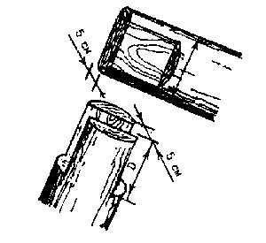 Разметка и вырубка шипа и паза на верхних концах стропил